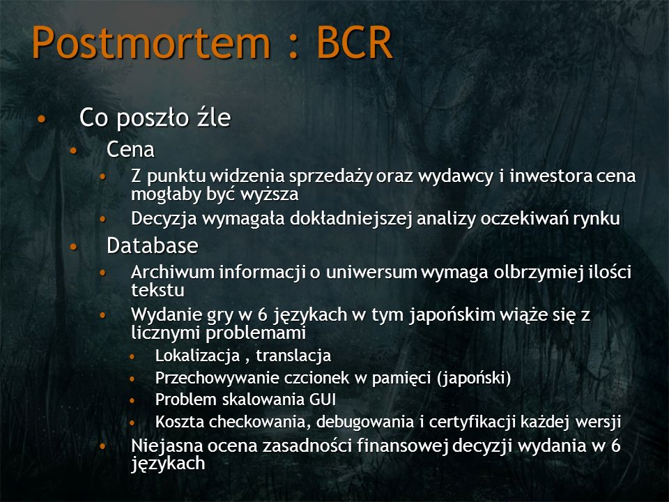 Postmortem : BCR Co poszło źle Cena Database