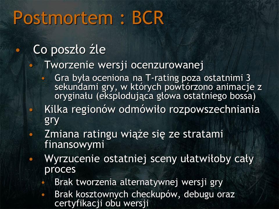 Postmortem : BCR Co poszło źle Tworzenie wersji ocenzurowanej