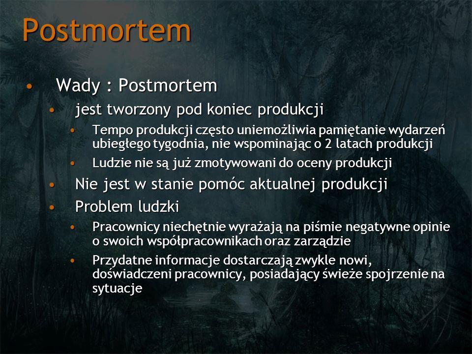 Postmortem Wady : Postmortem jest tworzony pod koniec produkcji
