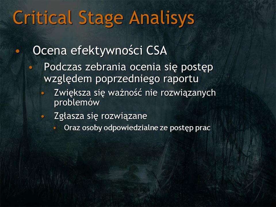 Critical Stage Analisys