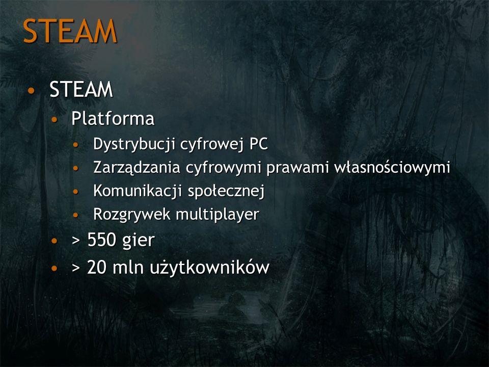 STEAM STEAM Platforma > 550 gier > 20 mln użytkowników