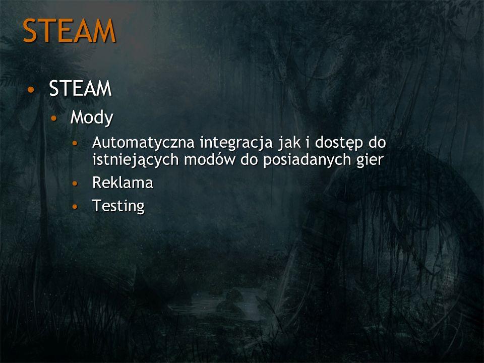 STEAM STEAM. Mody. Automatyczna integracja jak i dostęp do istniejących modów do posiadanych gier.