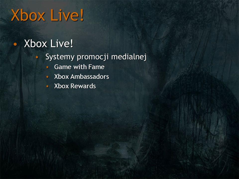 Xbox Live! Xbox Live! Systemy promocji medialnej Game with Fame