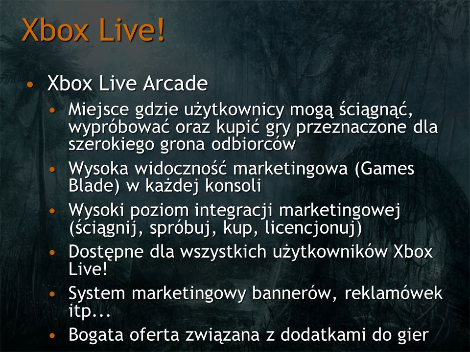 Xbox Live! Xbox Live Arcade