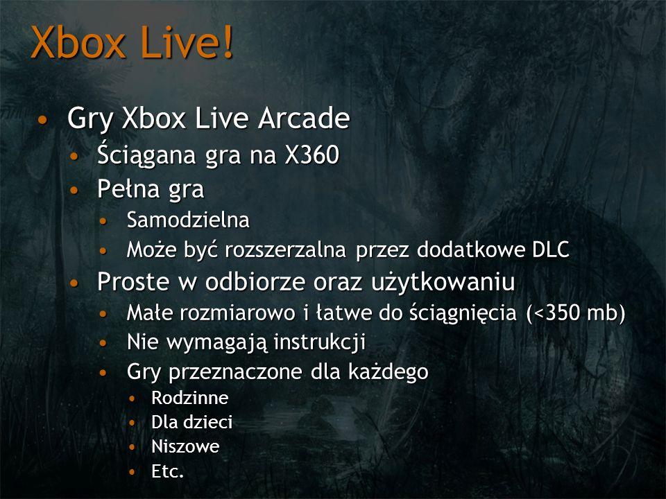 Xbox Live! Gry Xbox Live Arcade Ściągana gra na X360 Pełna gra