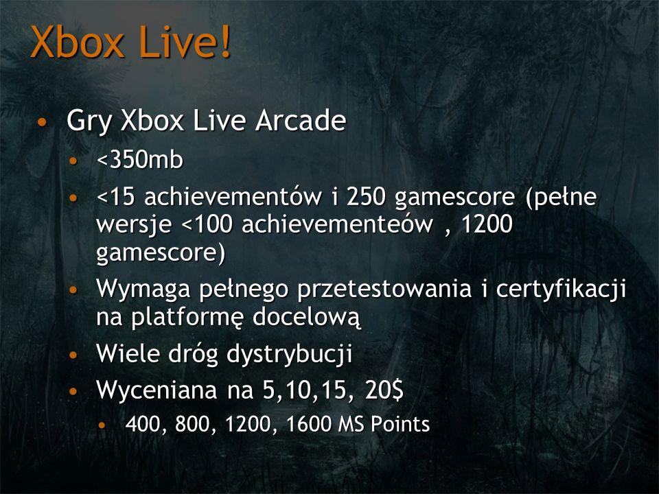 Xbox Live! Gry Xbox Live Arcade <350mb