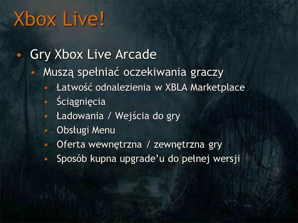 Xbox Live! Gry Xbox Live Arcade Muszą spełniać oczekiwania graczy