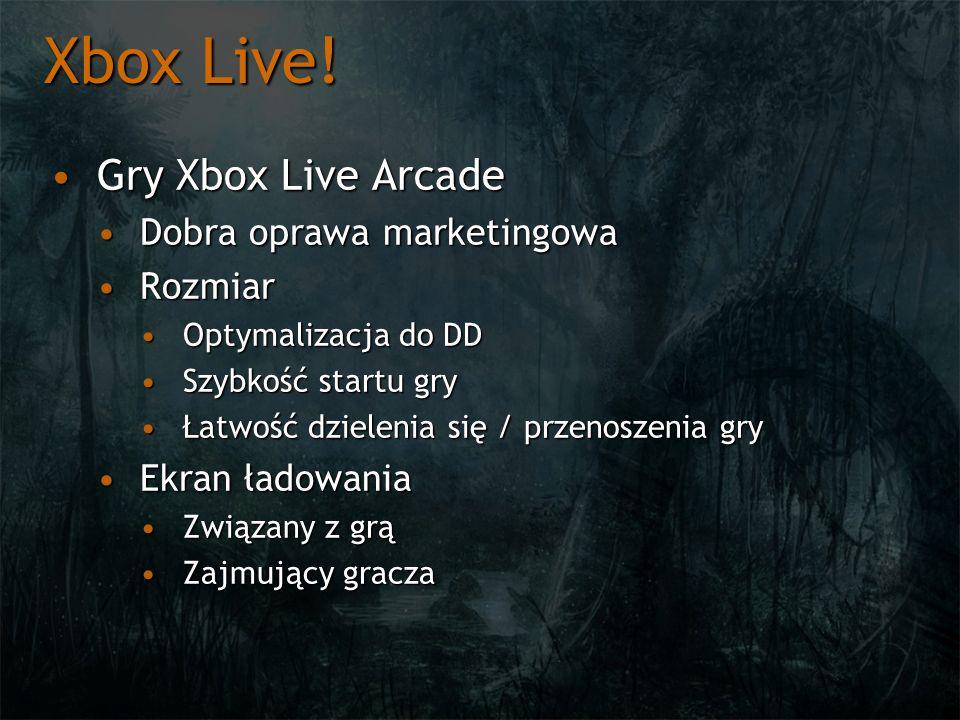 Xbox Live! Gry Xbox Live Arcade Dobra oprawa marketingowa Rozmiar