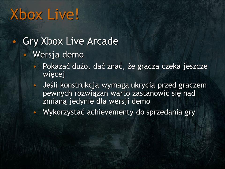 Xbox Live! Gry Xbox Live Arcade Wersja demo