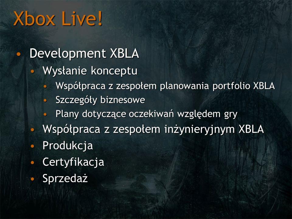 Xbox Live! Development XBLA Wysłanie konceptu