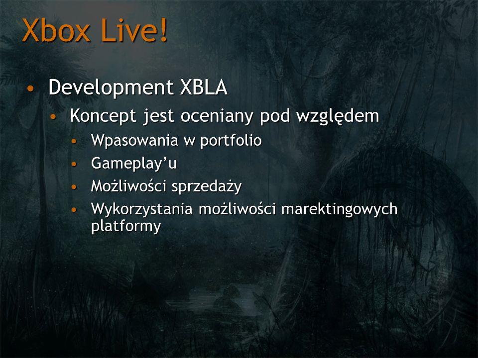 Xbox Live! Development XBLA Koncept jest oceniany pod względem