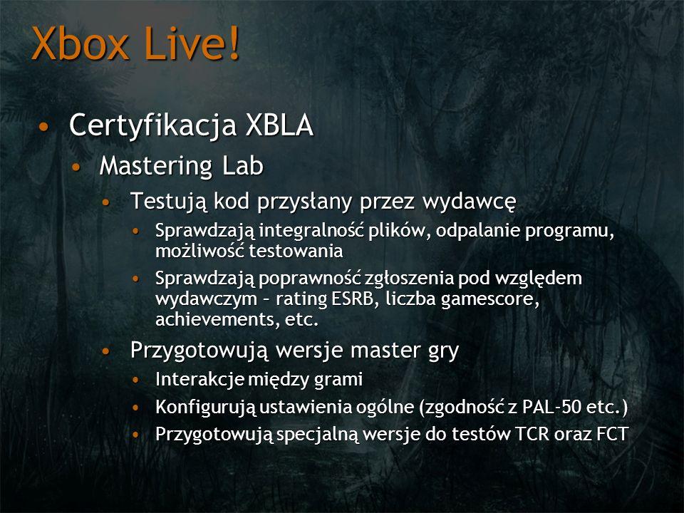 Xbox Live! Certyfikacja XBLA Mastering Lab