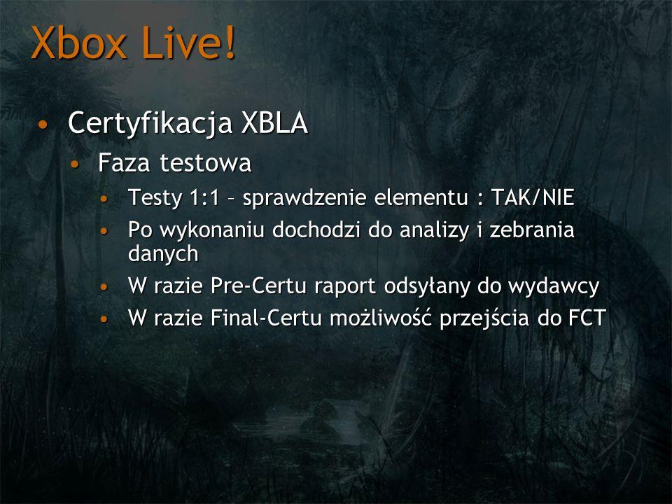 Xbox Live! Certyfikacja XBLA Faza testowa