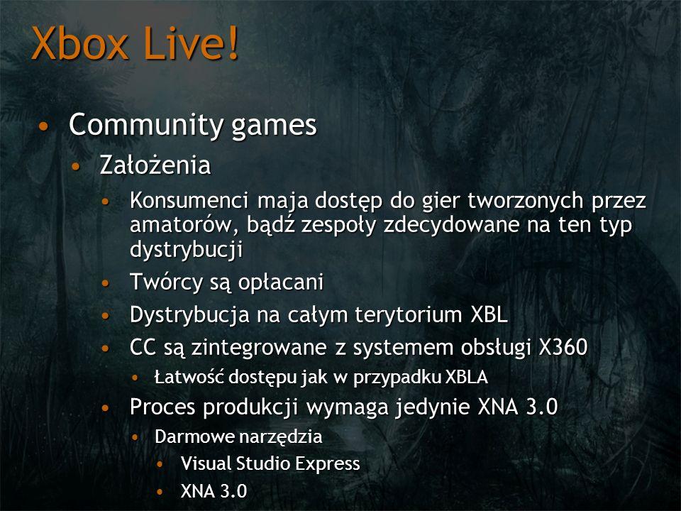 Xbox Live! Community games Założenia