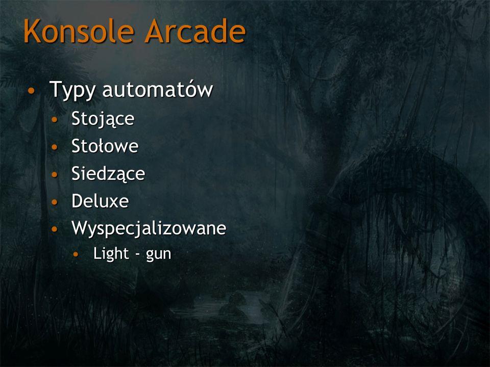 Konsole Arcade Typy automatów Stojące Stołowe Siedzące Deluxe