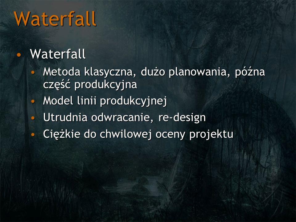 Waterfall Waterfall. Metoda klasyczna, dużo planowania, późna część produkcyjna. Model linii produkcyjnej.