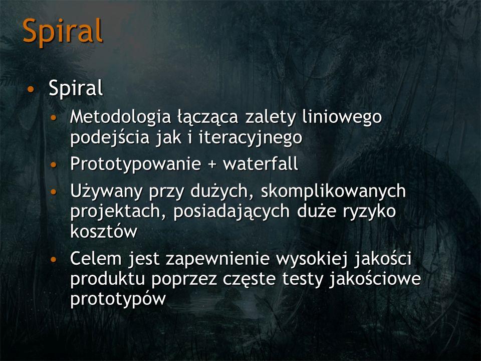 Spiral Spiral. Metodologia łącząca zalety liniowego podejścia jak i iteracyjnego. Prototypowanie + waterfall.