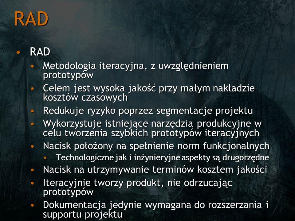 RAD RAD Metodologia iteracyjna, z uwzględnieniem prototypów