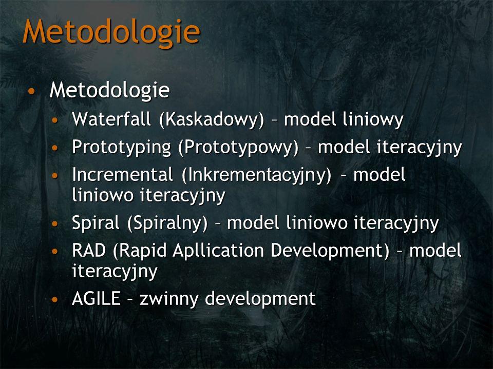 Metodologie Metodologie Waterfall (Kaskadowy) – model liniowy