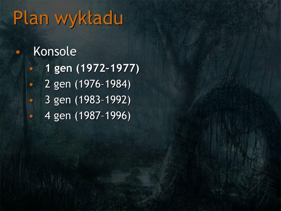 Plan wykładu Konsole 1 gen (1972–1977) 2 gen (1976–1984)