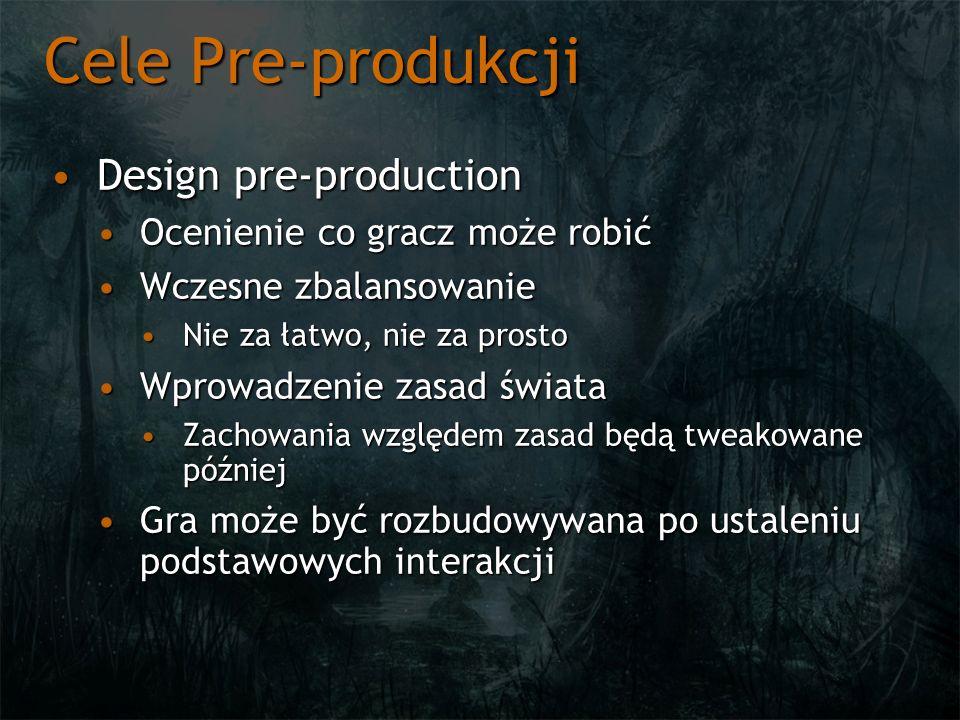 Cele Pre-produkcji Design pre-production Ocenienie co gracz może robić