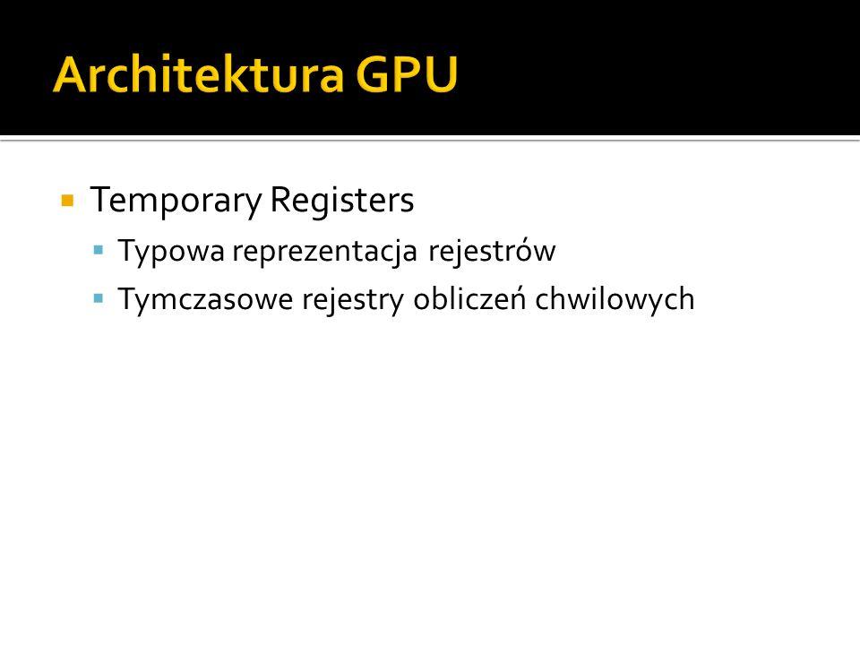 Architektura GPU Temporary Registers Typowa reprezentacja rejestrów