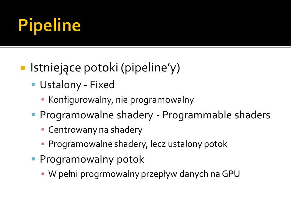 Pipeline Istniejące potoki (pipeline'y) Ustalony - Fixed