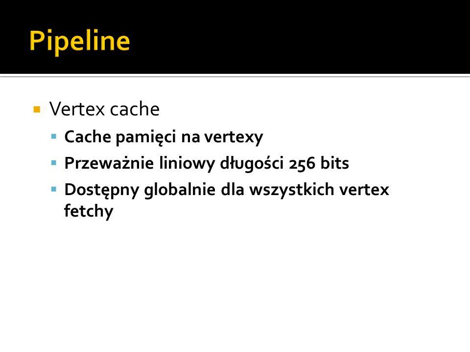 Pipeline Vertex cache Cache pamięci na vertexy