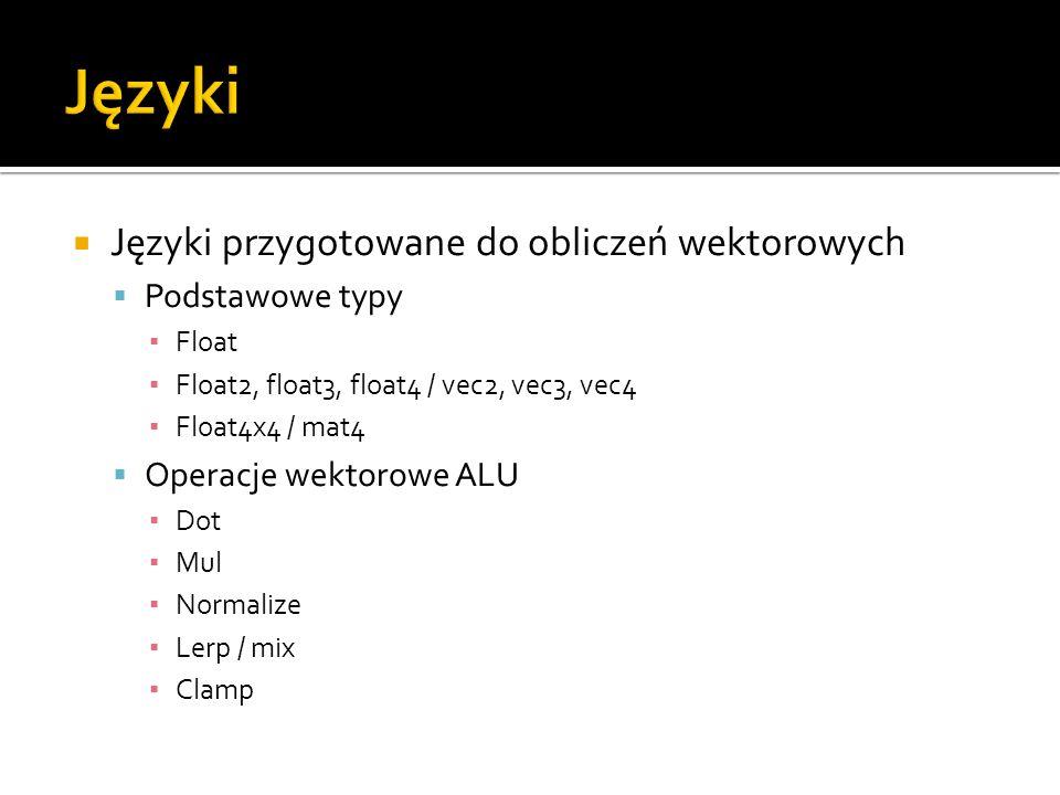 Języki Języki przygotowane do obliczeń wektorowych Podstawowe typy