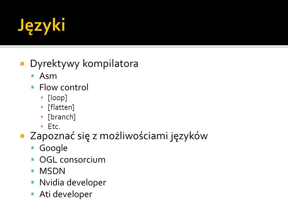 Języki Dyrektywy kompilatora Zapoznać się z możliwościami języków Asm