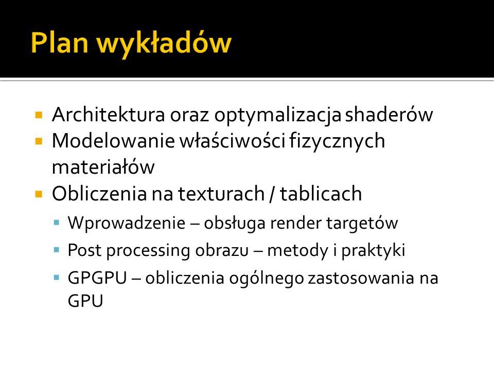 Plan wykładów Architektura oraz optymalizacja shaderów