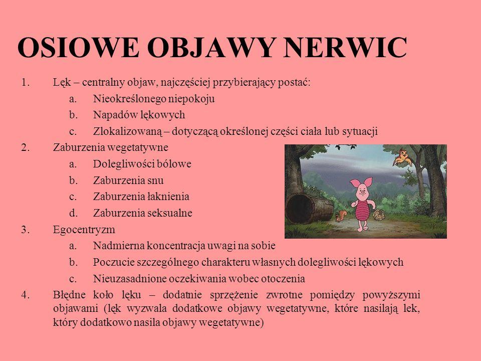 OSIOWE OBJAWY NERWIC Lęk – centralny objaw, najczęściej przybierający postać: Nieokreślonego niepokoju.