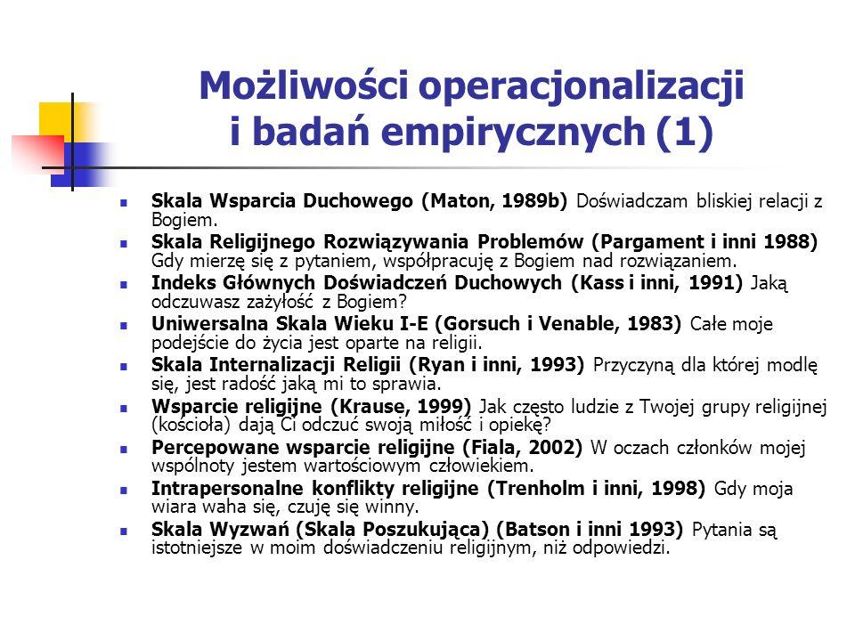 Możliwości operacjonalizacji i badań empirycznych (1)