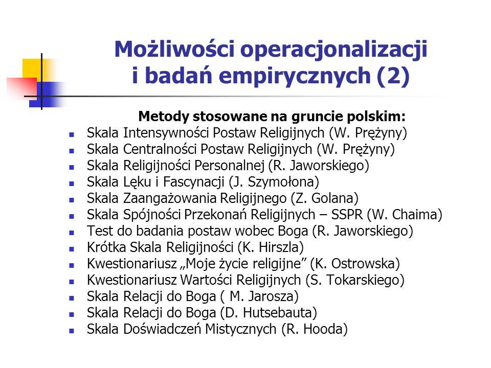Możliwości operacjonalizacji i badań empirycznych (2)