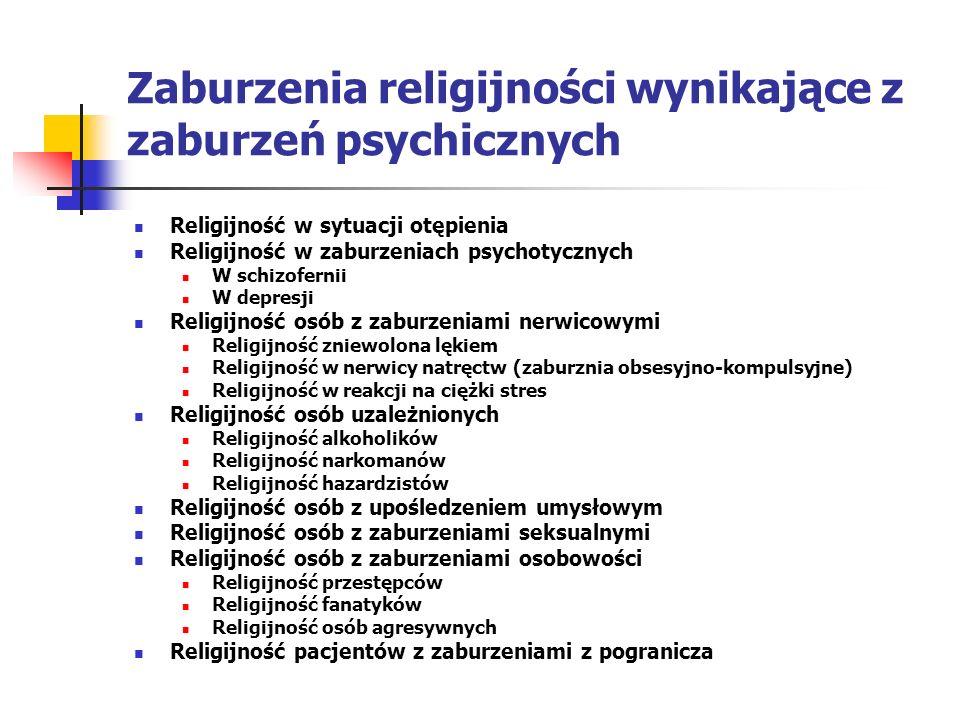Zaburzenia religijności wynikające z zaburzeń psychicznych