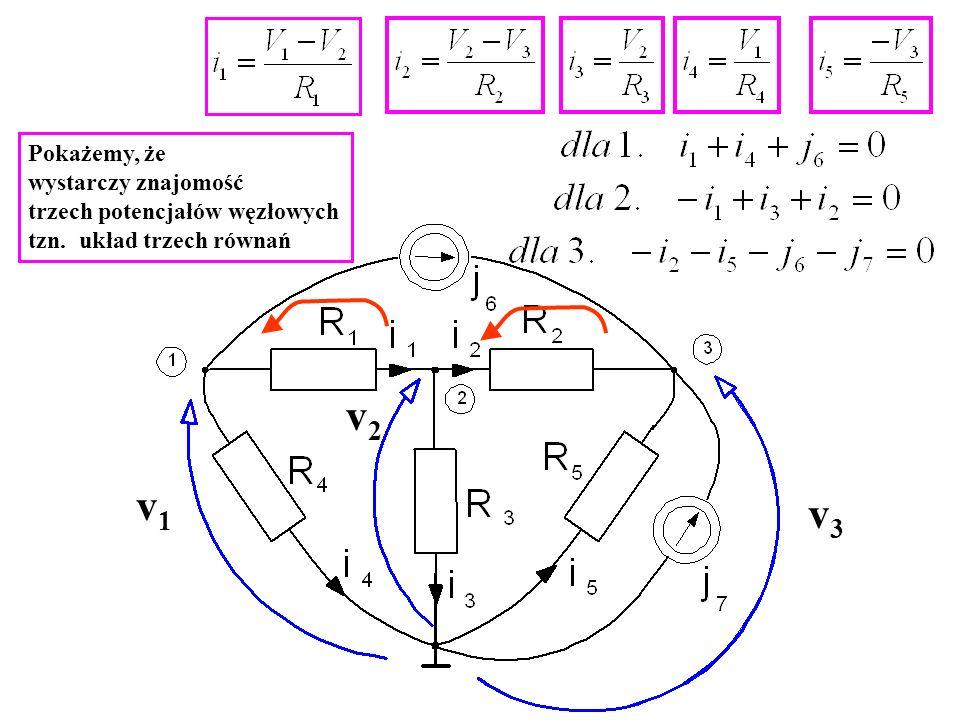 v2 v1 v3 Pokażemy, że wystarczy znajomość trzech potencjałów węzłowych