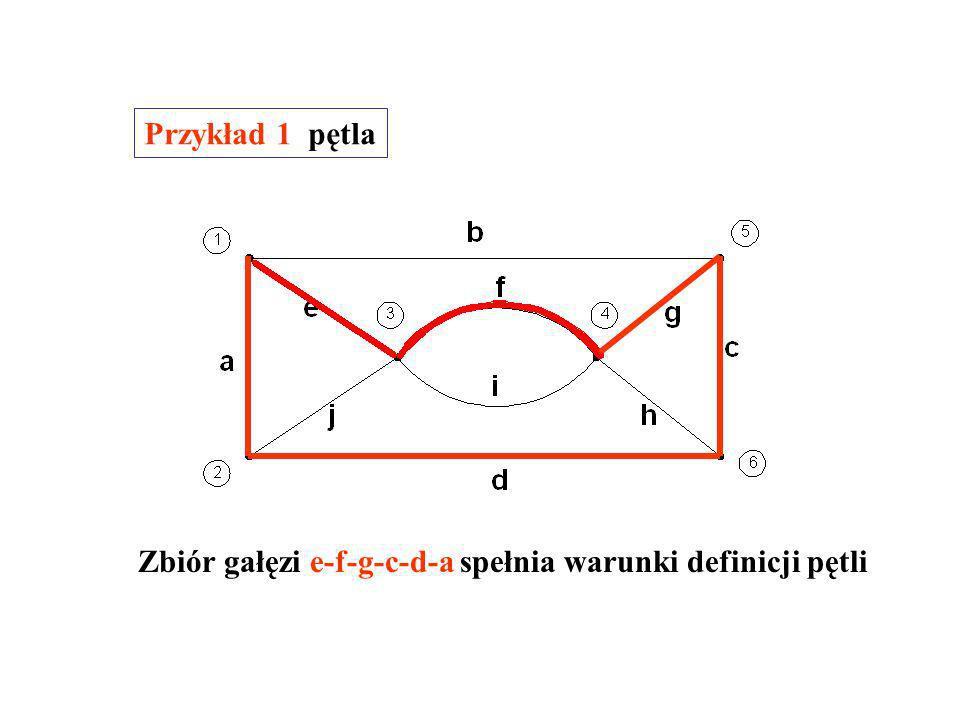 Przykład 1 pętla Zbiór gałęzi e-f-g-c-d-a spełnia warunki definicji pętli