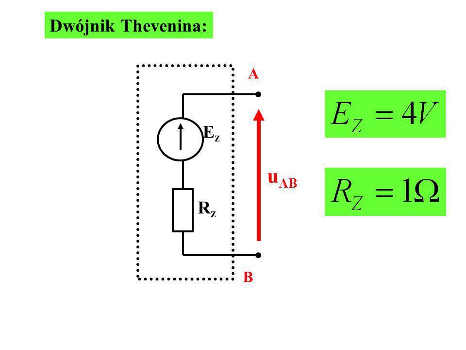 Dwójnik Thevenina: A B Ez Rz uAB