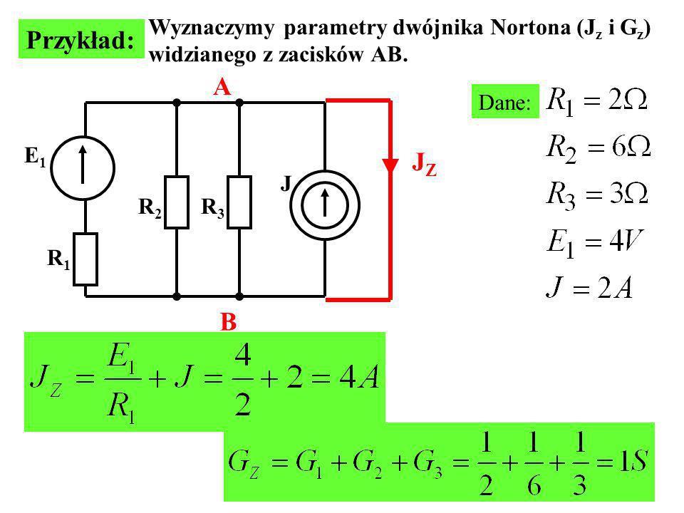 Przykład: A JZ B Wyznaczymy parametry dwójnika Nortona (Jz i Gz)