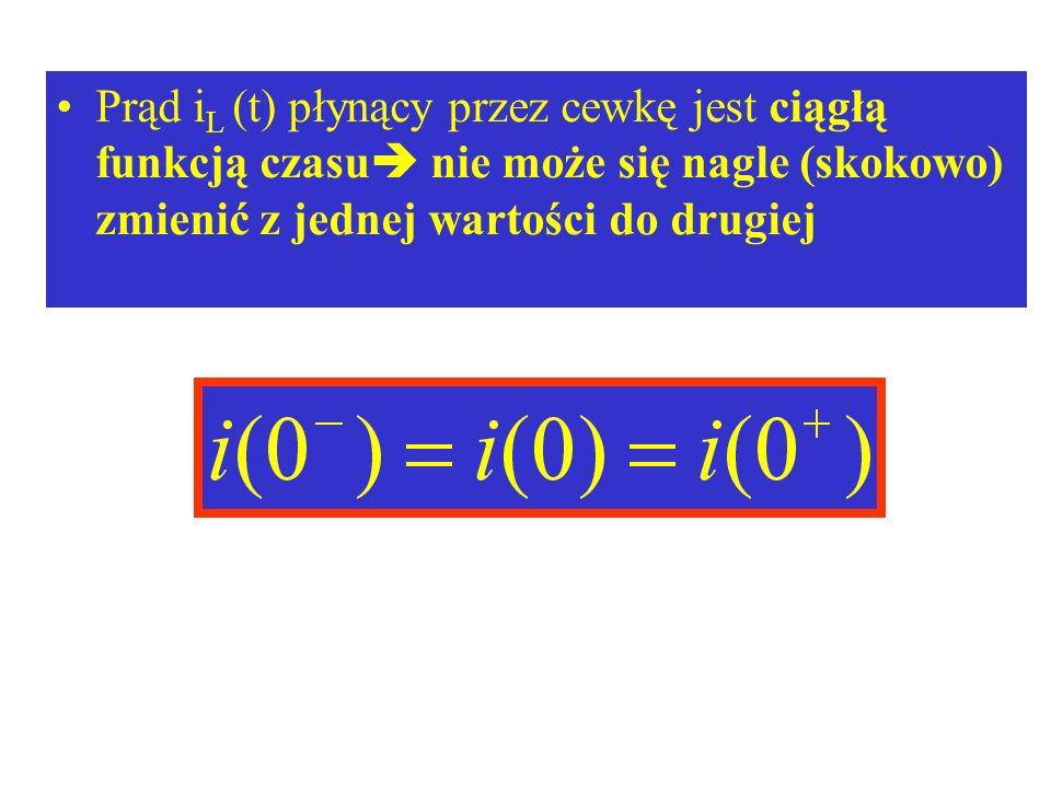 Prąd iL (t) płynący przez cewkę jest ciągłą funkcją czasu nie może się nagle (skokowo) zmienić z jednej wartości do drugiej