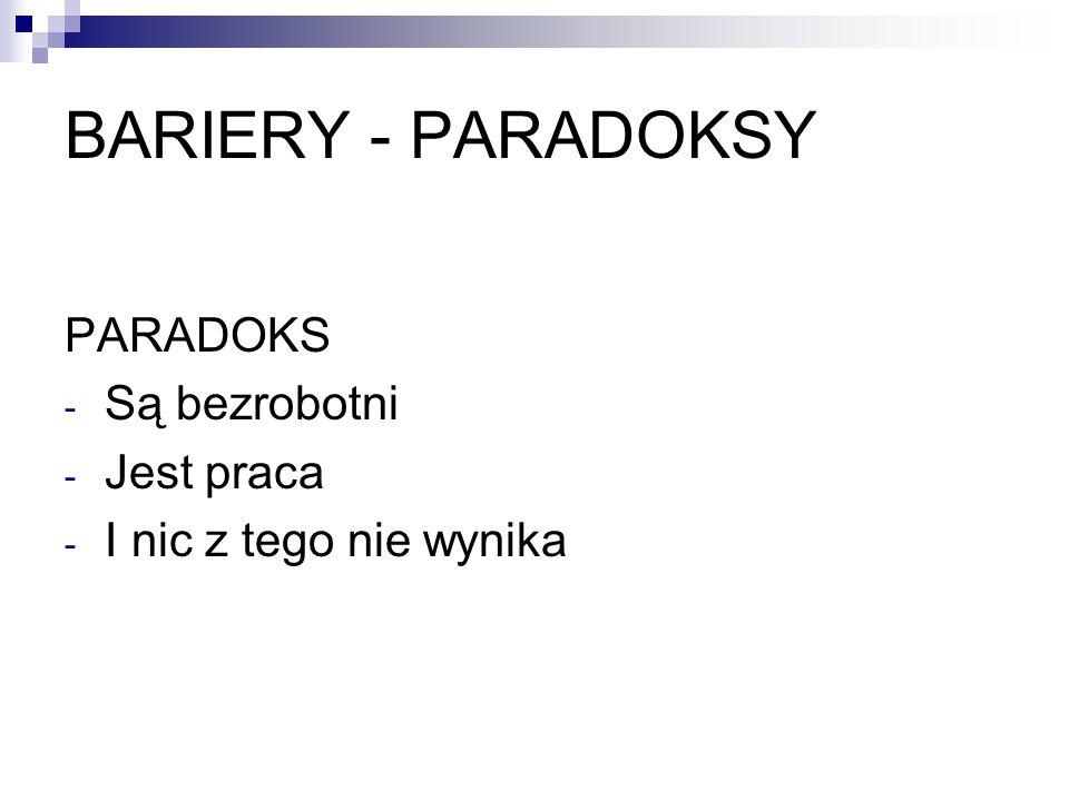 BARIERY - PARADOKSY PARADOKS Są bezrobotni Jest praca