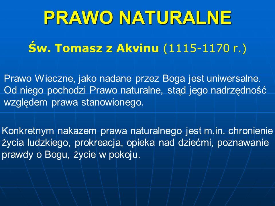 PRAWO NATURALNE Św. Tomasz z Akvinu (1115-1170 r.)