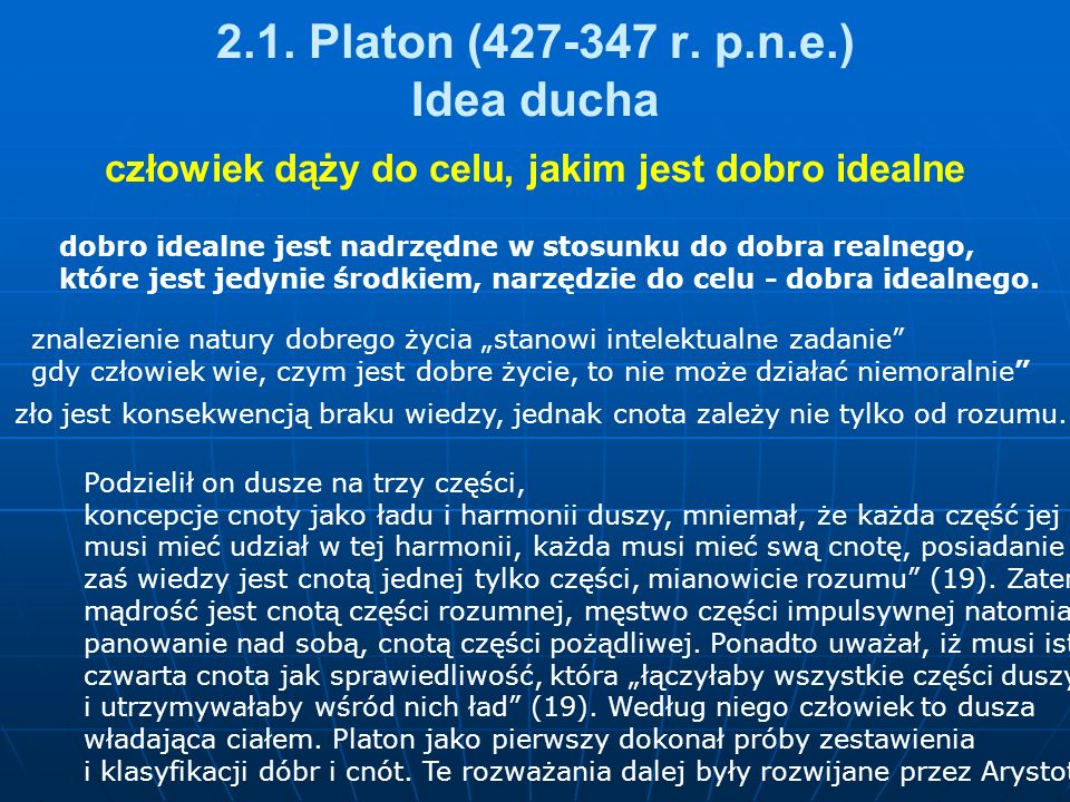 2.1. Platon (427-347 r. p.n.e.) Idea ducha
