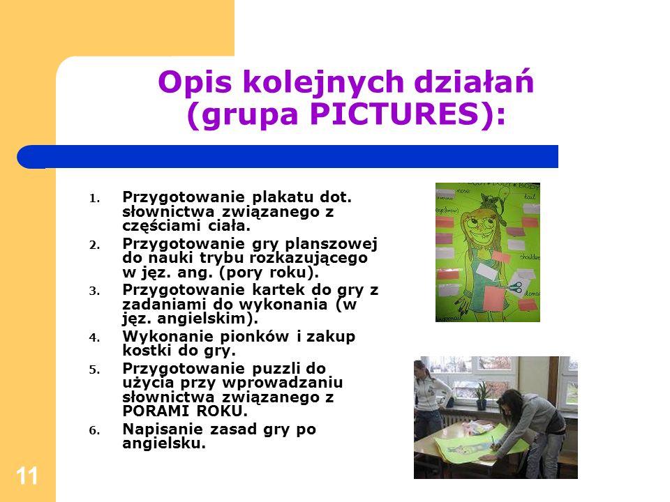 Opis kolejnych działań (grupa PICTURES):