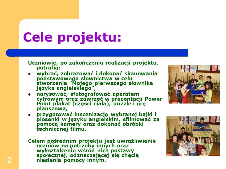 Cele projektu:Uczniowie, po zakończeniu realizacji projektu, potrafią: