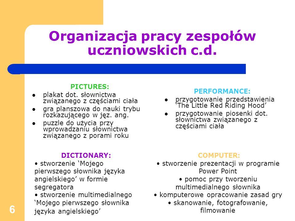 Organizacja pracy zespołów uczniowskich c.d.
