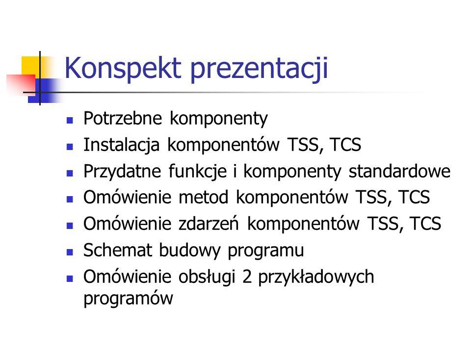Konspekt prezentacji Potrzebne komponenty
