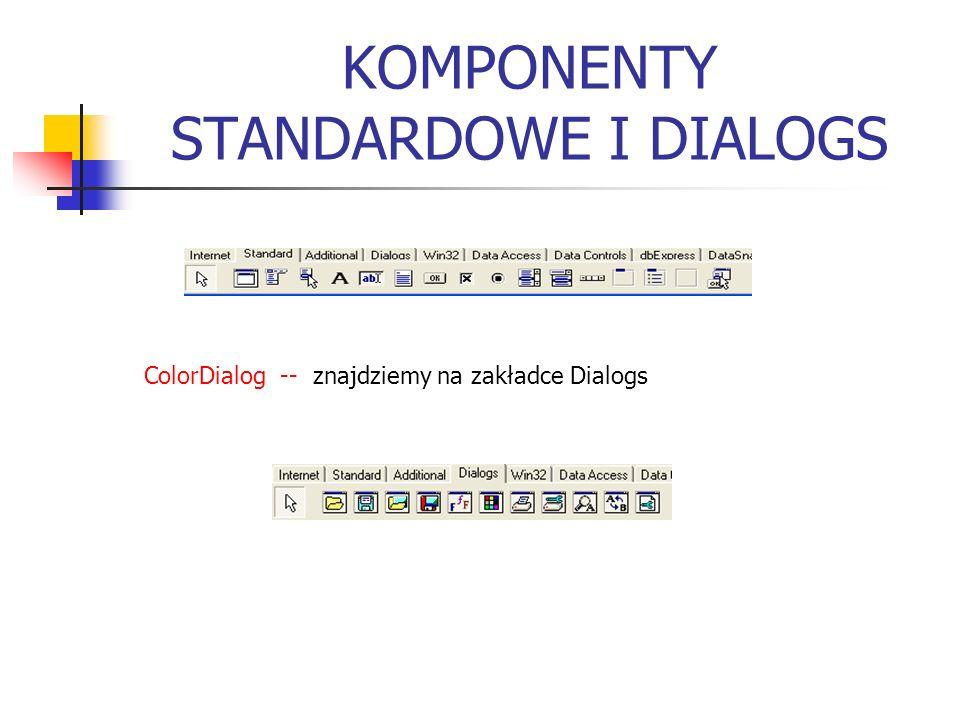 KOMPONENTY STANDARDOWE I DIALOGS