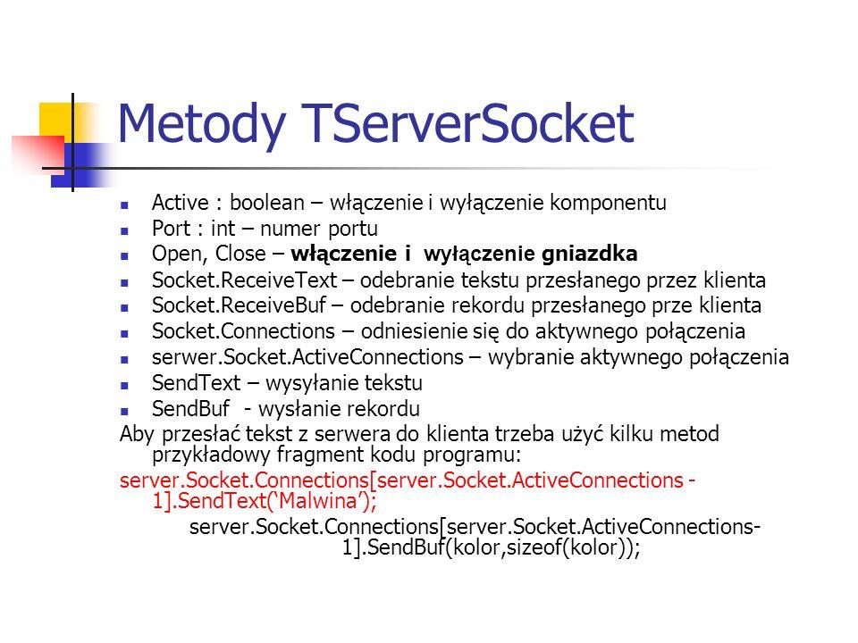 Metody TServerSocket Active : boolean – włączenie i wyłączenie komponentu. Port : int – numer portu.