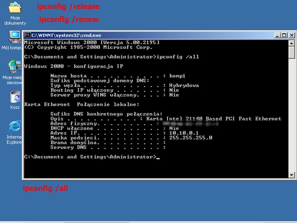 ipconfig /release ipconfig /renew ipconfig /all